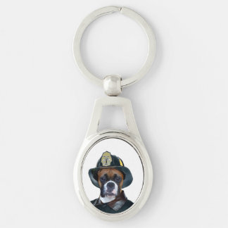 Fireman boxer dog key ring