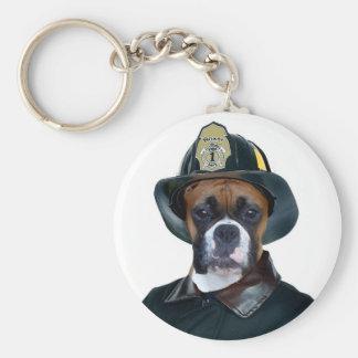Fireman boxer dog keychain
