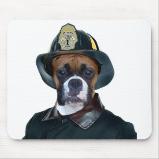 Fireman boxer dog mousepad