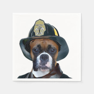 Fireman boxer dog paper napkin