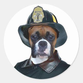 Fireman boxer dog stickers