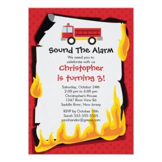 Fireman Boy Firetruck Birthday Party Announcement