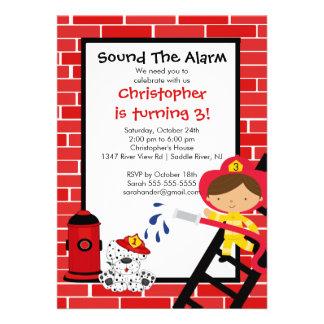 Fireman Boy Firetruck Birthday Party Custom Invitations