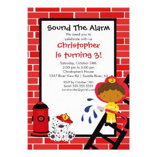 Fireman Boy Firetruck Birthday Party Personalized Invitation