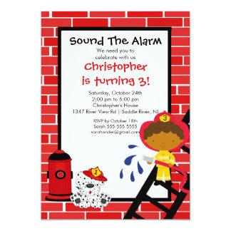 Fireman Boy Firetruck Birthday Party 5x7 Paper Invitation Card