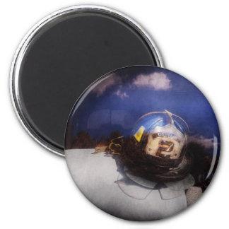 Fireman - Captains hat 6 Cm Round Magnet