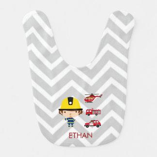 Fireman Emergency Vehicles on Chevron Baby Bibs