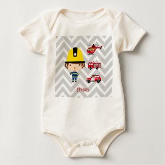 Fireman Emergency Vehicles on Chevron Baby Bodysuit
