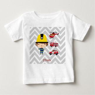 Fireman Emergency Vehicles on Chevron Baby T-Shirt