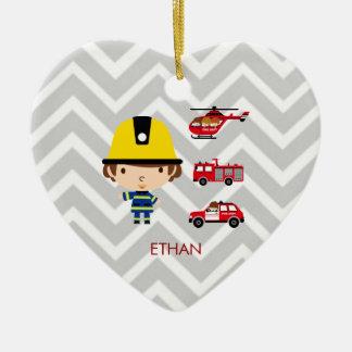 Fireman Emergency Vehicles on Chevron Ceramic Heart Decoration