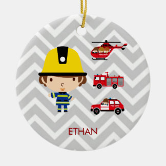 Fireman Emergency Vehicles on Chevron Christmas Ornament