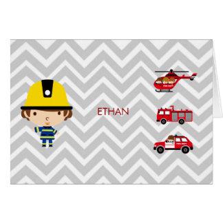 Fireman Emergency Vehicles on Chevron Greeting Card