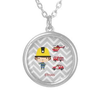 Fireman Emergency Vehicles on Chevron Round Pendant Necklace