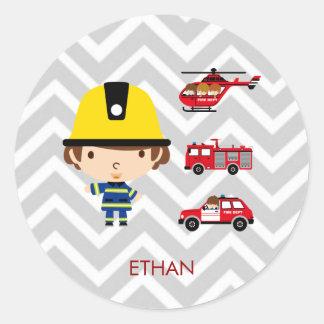 Fireman Emergency Vehicles on Chevron Round Sticker