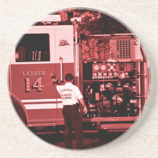 fireman entering truck burgundy colored drink coaster