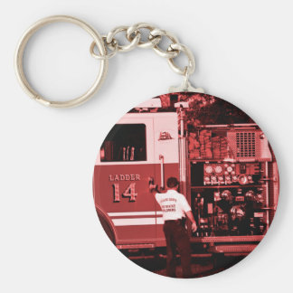 fireman entering truck burgundy colored keychains