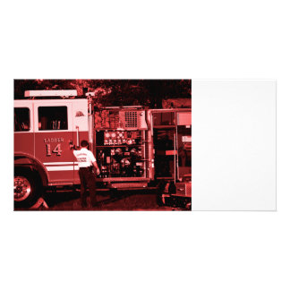 fireman entering truck burgundy colored photo card template