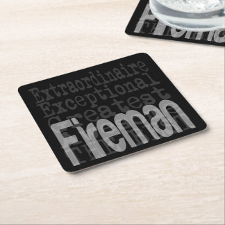 Fireman Extraordinaire Square Paper Coaster