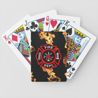 Fireman Fire Dept | Maltese Cross Logo Flames Bicycle Playing Cards