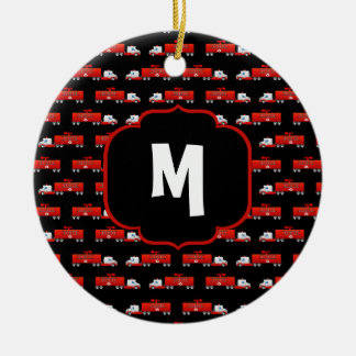 Fireman Fire Truck Red and Black Initial Firetruck Christmas Ornament