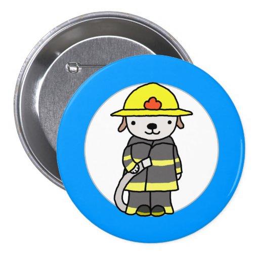 Fireman Fire-woman Cute Puppy Dog Uniform Button