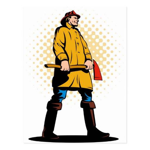 fireman firefighter fighting fire retro post card