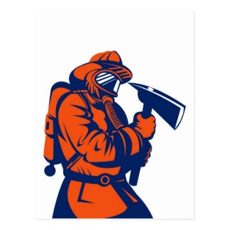 fireman firefighter fighting fire retro postcard