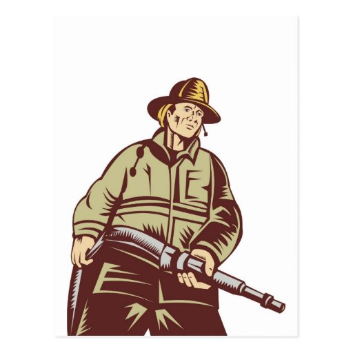 fireman firefighter fighting fire retro post cards