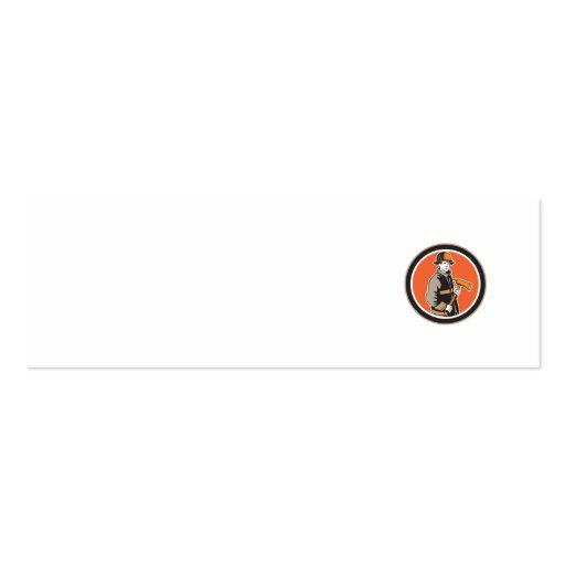 Fireman Firefighter Holding Fire Axe Circle Business Card Templates