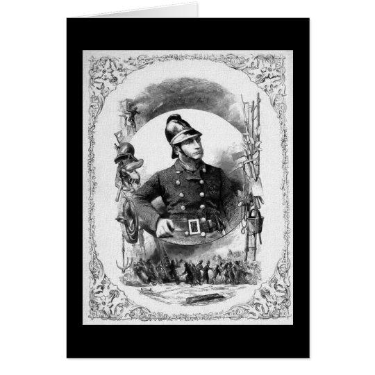 """""""Fireman/Firefighter"""" Vintage Illustration. Card"""