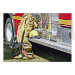 Fireman Firefighting Suit and Truck Cards