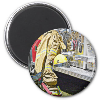 Fireman Firefighting Suit and Truck Magnet