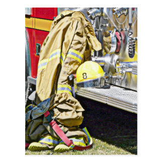 Fireman Firefighting Suit and Truck Postcard