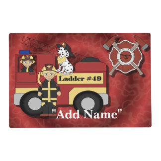 Fireman Firemen Laminated Placemat Artmat