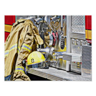 Fireman Gear and Truck Posters