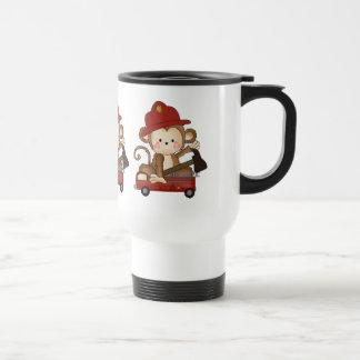 Fireman Monkey cartoon travel mug