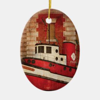 Fireman - NY - The fire boat Ceramic Oval Decoration