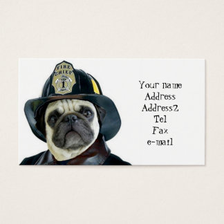 Fireman Pug business cards