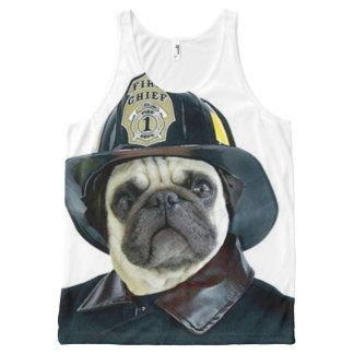 Fireman Pug Dog All-Over Print Tank Top