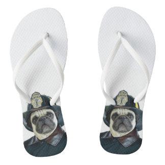 Fireman Pug Dog Flip Flops