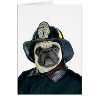 Fireman Pug greeting card
