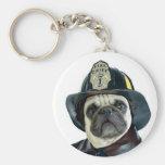 Fireman Pug keychain