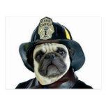 Fireman Pug postcard
