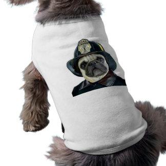 Fireman Pug t-shirt Sleeveless Dog Shirt