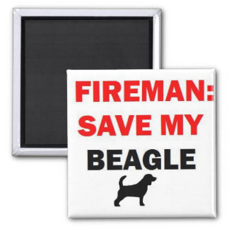 Fireman Rescue My Beagle Magnet