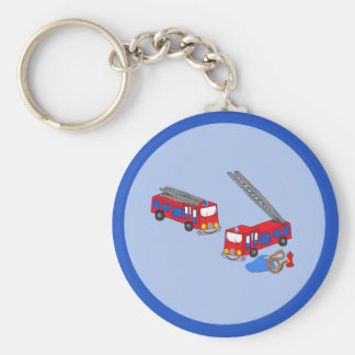 Fireman's Red Fire Trucks Basic Round Button Key Ring