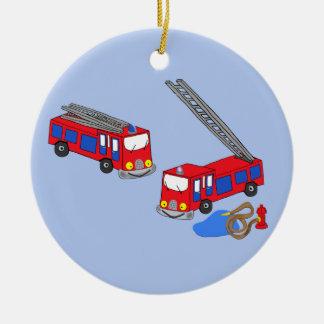 Fireman's Red Fire Trucks Christmas Tree Ornaments