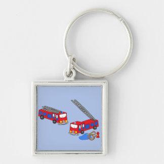 Fireman's Red Fire Trucks Key Chains