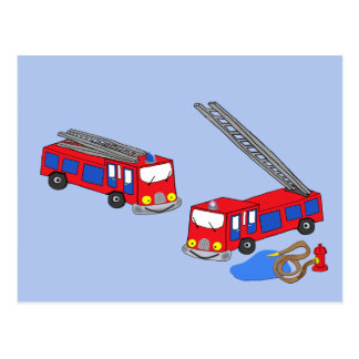 Fireman's Red Fire Trucks Postcard