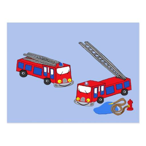 Fireman's Red Fire Trucks Postcards